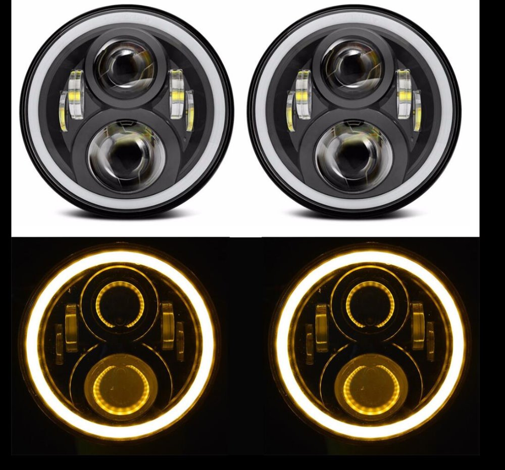 7 inch Headlight Angel eyes white DRL Hi/Lo Beam 7'' Headlight Yellow turning Light LED Headlamp for Jeep Wrangler 2Pcs 2pcs 2017 new design 7 inch 40w motorcycle led auto angel eyes led headlight bulb with high quality