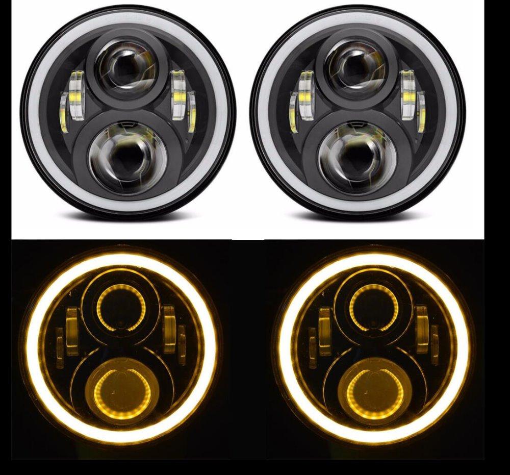 7 inch Headlight Angel eyes white DRL Hi/Lo Beam 7 Headlight Yellow turning Light LED Headlamp for Jeep Wrangler 2Pcs