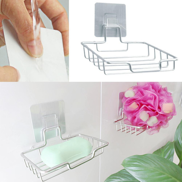 Fashion Wall Mounted Stainless Steel Soap Dish Box Strong Suction Vacuum  Sucker Soap Dish Storage Holder