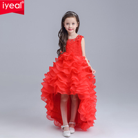 New Pretty Scoop Ivory Red Flower Girls Dresses 2016 Floor Length Girls Holy First Communion Layered