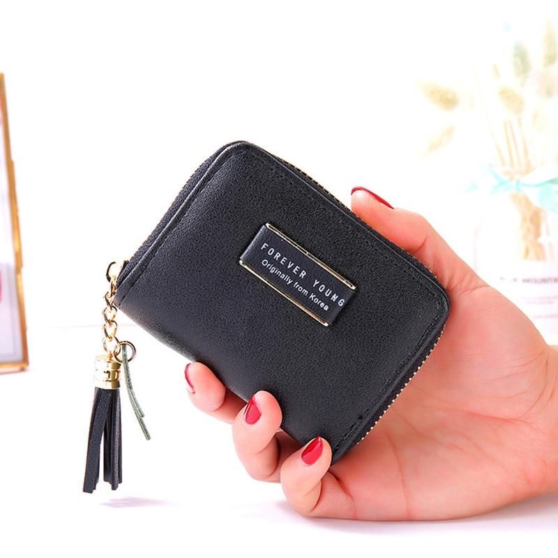 Women Wallet 2019 Tassel Small Cute Wallet Women Short Leather Women Wallets Zipper Purses Female Purse Clutch Pentagram 259 in Wallets from Luggage Bags