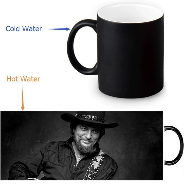12oz Waylon Jennings Heat Changing Color Ceramic Tea Cup Heat