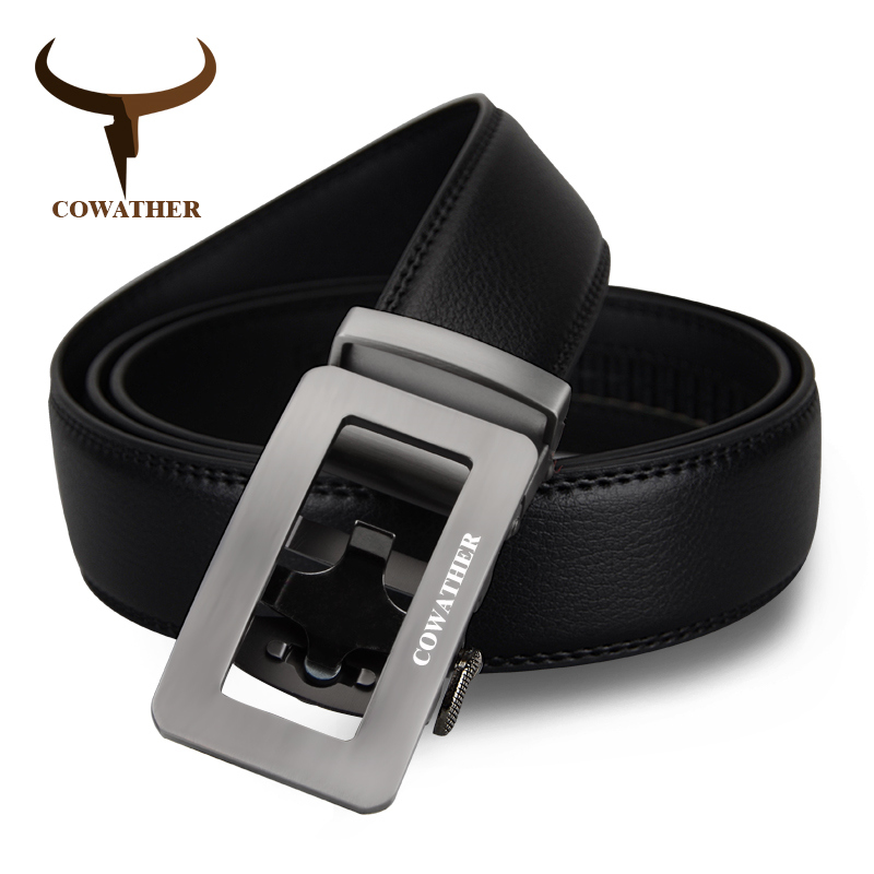 COWATHER Real Cowskin Automatic Buckle Belts Luxury 100% Cow Genuine Leather Men Belt  Fashion Design Male Strap Free Shipping