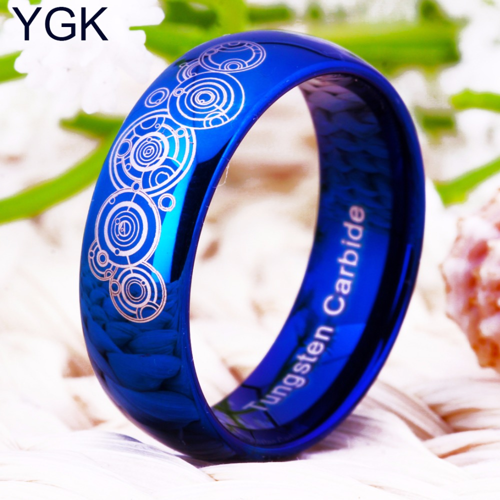 YGK Brands 8mm Width Doctor Who Blue Dome Men and Women's Fashion Tungsten Ring Gift Ring