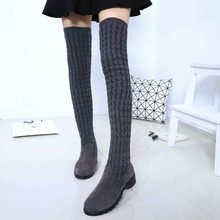 2017 New Shoes Woman Knee Knitted Long Boots Lady ugs Elastic Slim Spring Warm Long Thigh