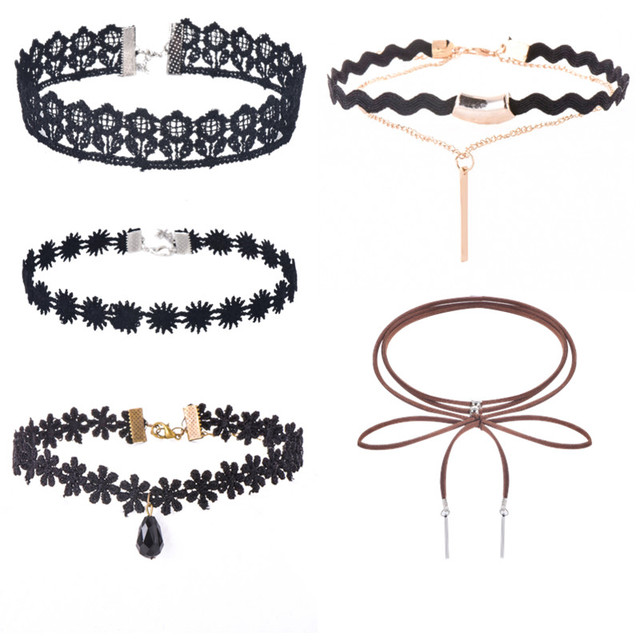 c4813c0a84 6 PCS/set PU Leather Lace Flower Choker Necklace for Women Stone Infinity  Jewelry Gifts Beads Crystal Heart Necklace x90