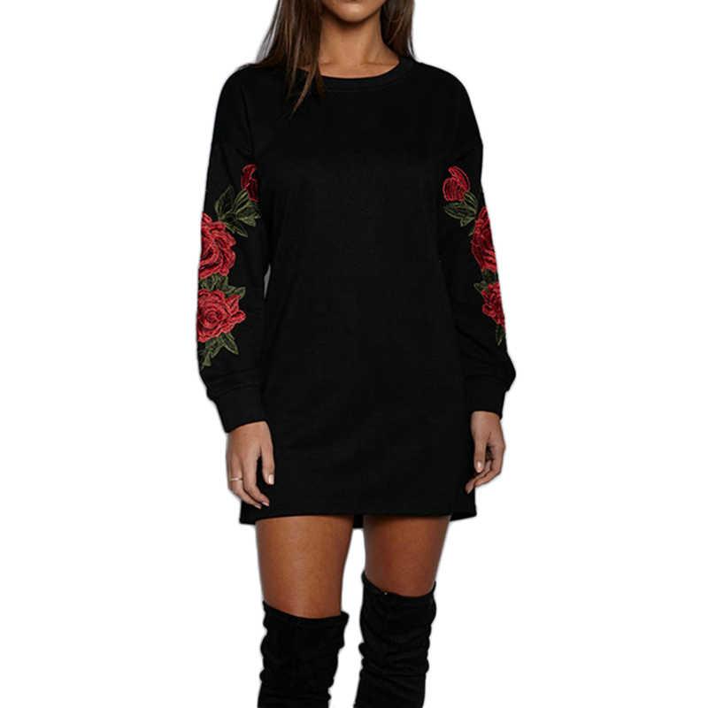 Толстовки женские черные/белые розовая Цветочная вышивка длинные толстовки с длинными рукавами с круглым вырезом Теплые повседневные Фитнес сексуальные пуловеры Топы