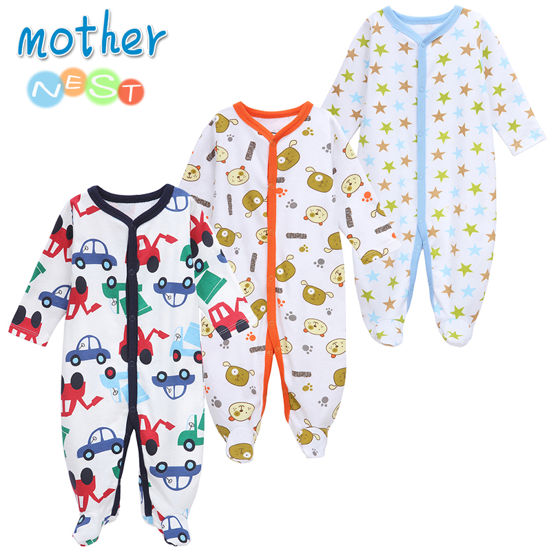 Mother Nest 3 PCS/LOT Baby Boy Clothes Comfortable Baby   Rompers   Winter Thick Climbing Clothes Newborn 0-12 M Baby Clothes Unisex