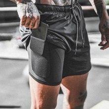 Мужские камуфляжные спортивные шорты 2 в 1, мужские быстросохнущие шорты для занятий бегом и бегом, со встроенным карманом