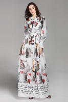 High Quality New 2018 Fashion Designer Runway Maxi Dress Women's Long Sleeve Casual Animal Cat Letter Printing Long Dress