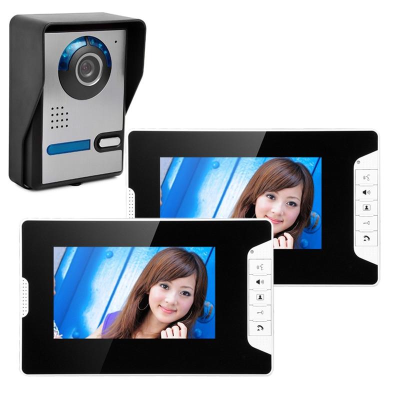 Free Shipping 7  Color Screen Wired Video Door Phone Intercom System +1 Waterproof Door Camera +2 White Indoor Monitor New