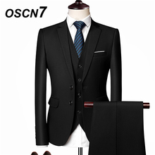 OSCN7 Solid Business 3PCS Suits Men Plus Size Casual Gentleman Slim Fit Terno Masculino Leisure Mens Suit 533