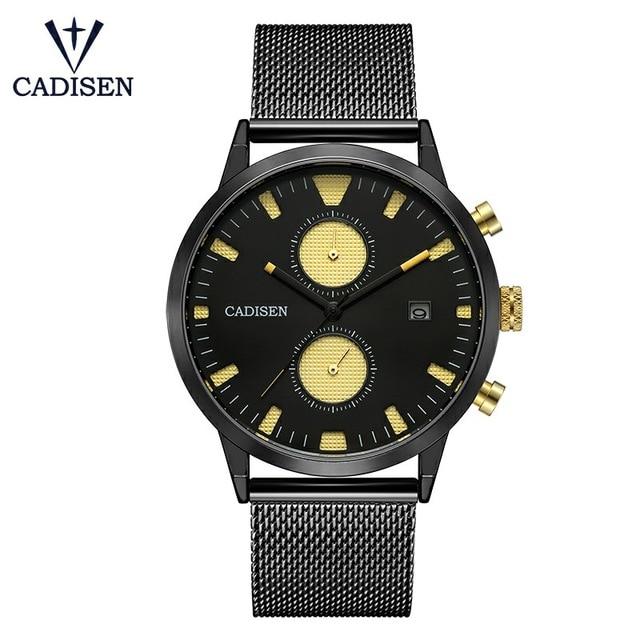 все цены на CADISEN Watch Men Fashion Quartz Clock Men Watches Luxury Stainless Steel Mesh Pilot Military Sport Wristwatch Relogio Masculino