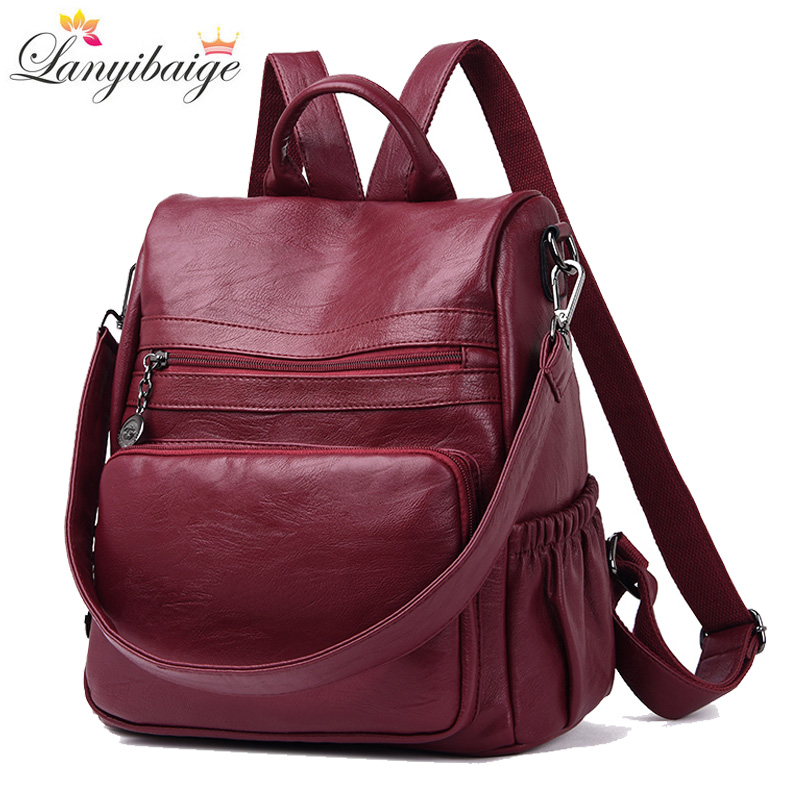 zooler backpack casual 2017 new high quality woman leather backpacks school bag red pots designed backpack mochila d118 New 2018 Casual Women Backpack High Quality Leather Backpacks For Teenage Girls Female School Bag Shoulder Bag Bagpack mochila