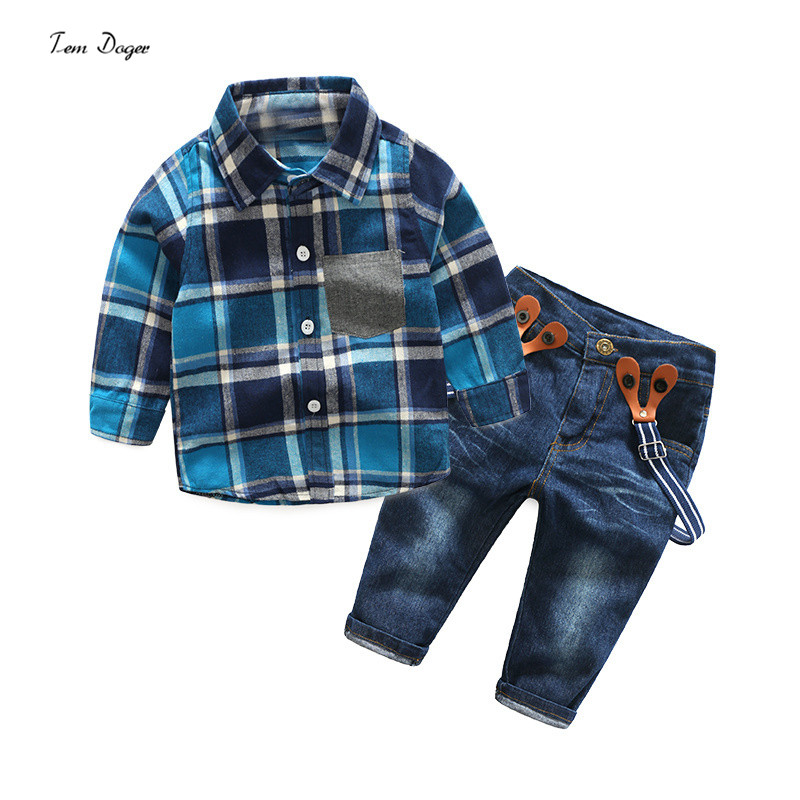 summer boys clothing sets wedding party costume children plaid shirts + casual jeans kids clothes 2017 new arrival baby boys clo