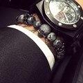 European Buddha Bracelet Men CZ Skull Charm India Labradorite 8mm Natural Stone Light Beads Bracelet For Men Handmade Jewelry