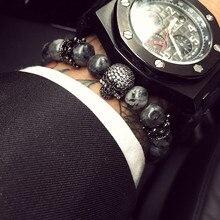 Mcllroy Buddha Bracelet Men CZ Skull Charm India Labradorite 8mm Natural Stone Light Beads Bracelet For Men Handmade Jewelry