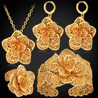 פרח גדול נשים קאף צמיד טבעת עגילי שרשרת סט תכשיטי חתונה סטי תכשיטי כלה מתנת צבע זהב צהוב PEHR483