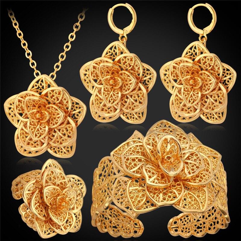 Big Flower Wedding Jewelry Cuff Bracelet Ring Earrings Necklace ...