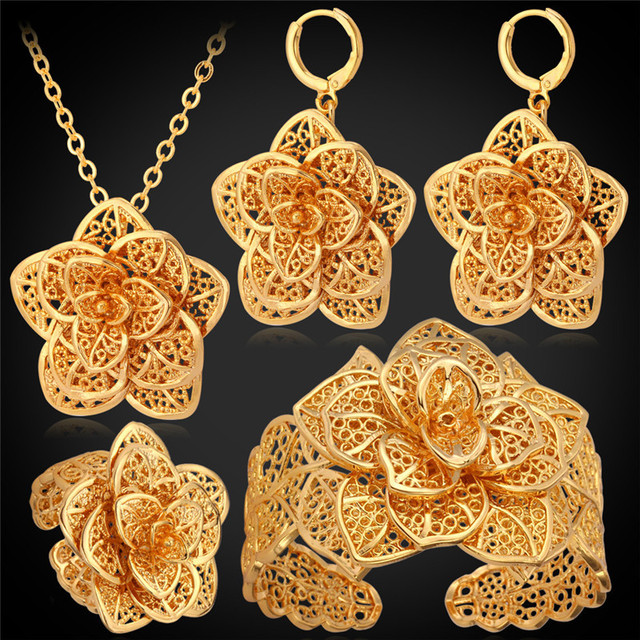 Big Flower Wedding Jewelry Cuff Bracelet Ring Earrings Necklace Set