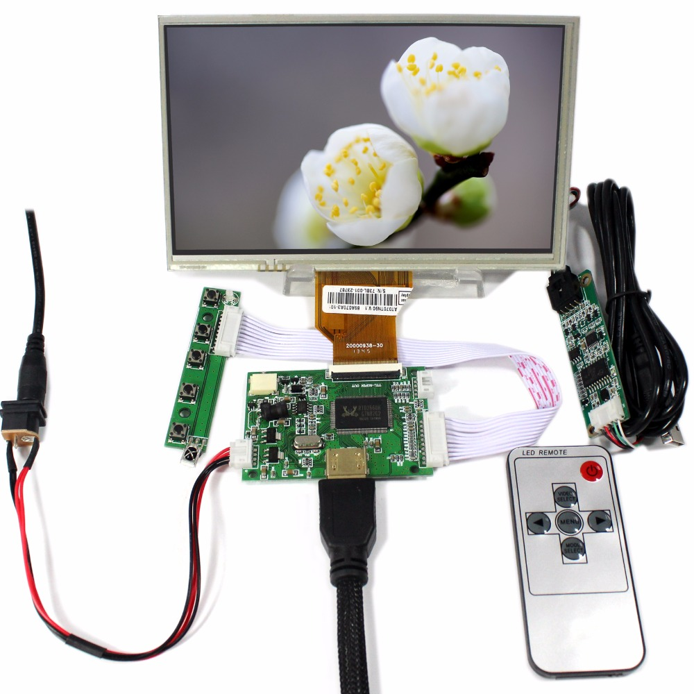 HDMI input LCD controller board VS-TY50-V2+7inch 800x480 AT070TN90 lcd+Touch panel+Remote control hdmi vga 2av lcd driver board vs ty2662 v1 71280 800 n070icg ld1 ld4 touch panel