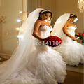 Exclusive 2015 New Arrival Mermaid Wedding Dresses Sweetheart Appliques See Through Back Ruffles Sexy Bridal Gowns