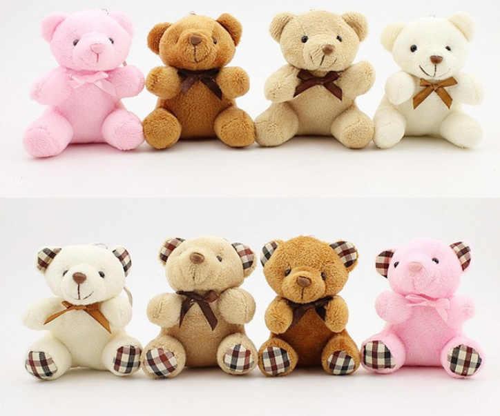 חדש 2 עיצובים-קטן 10CM מפתח שרשרת קטיפה דוב צעצועים, ממולא בעלי החיים בובת צעצוע
