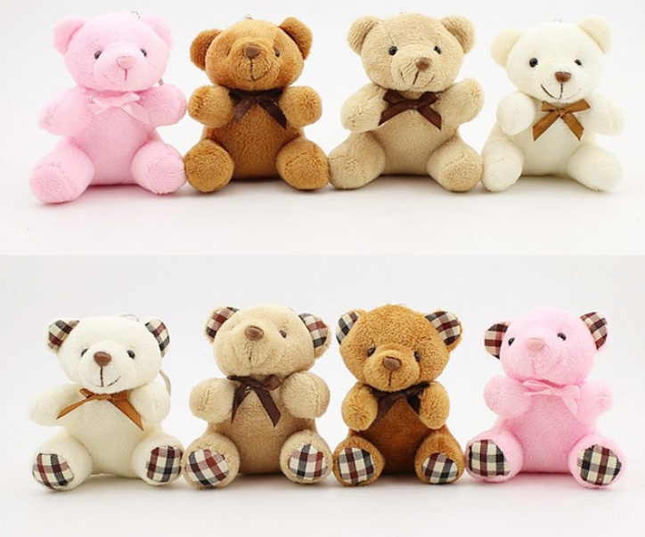 New 2Designs- Small 10CM Key chain Plush Bear Toys , Stuffed Animal DOLL TOY(China)