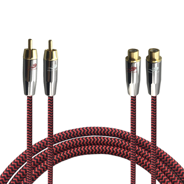 Hifi Audio Cable 2 RCA Male to 2 RCA Female Stereo DVD TV ...