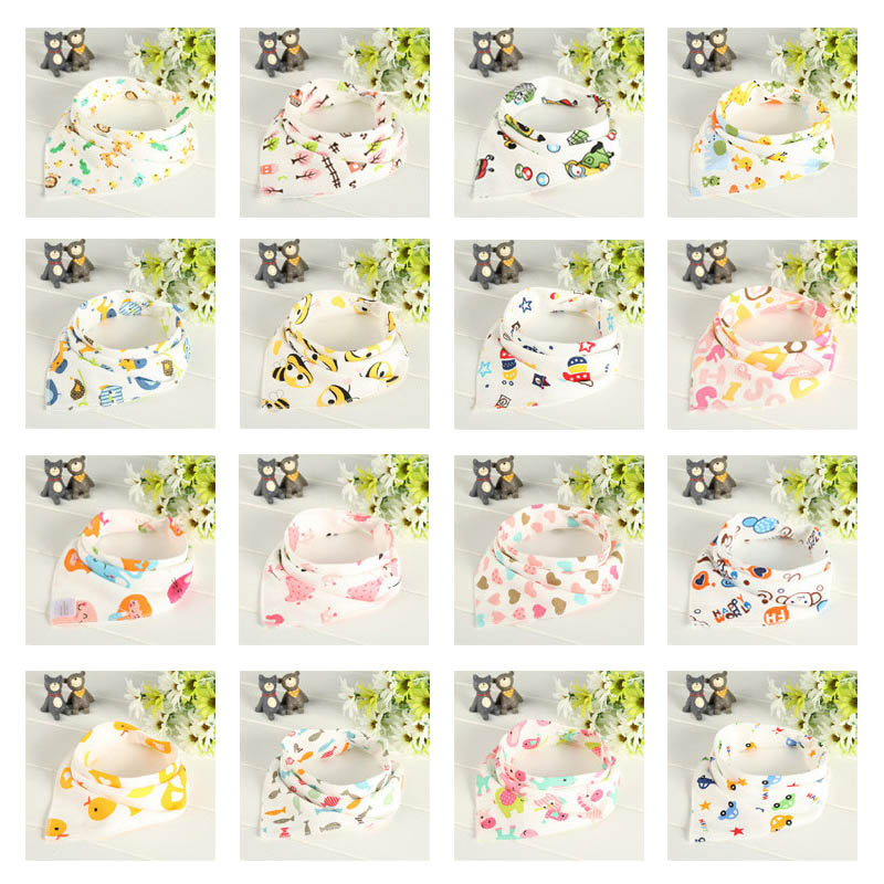 6Pcs/Set Cotton Baby Bibs Double Layers Waterproof Cloth Scarf Boys Girls Burp Bib 88 NSV775