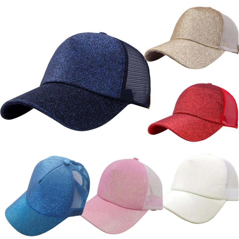 0d81b78fb5f Aliexpress.com   Buy snowshine4   3003 2018 6 Color Women Ponytail Baseball  Cap Sequins Shiny Messy Bun Summer Snapback Hat Sun Caps Drop Shipping from  ...