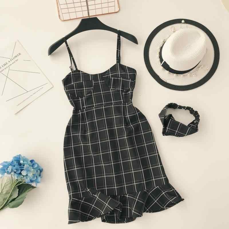 Плиссированные тонкие модные 2019 сексуальные летние клетчатые принты на бретельках Мини Короткие Платья вечерние женские Повседневные Вечерние платья Русалка Vestidos