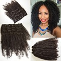 8A malaysian clip-ins hair natural african kinky kurly clip-ins hair weaves virgin malaysian hair 4b/4c clip-ins hair extensions