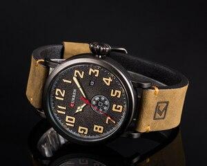 Image 4 - Nouveau CURREN hommes montres Top marque de luxe hommes montre à Quartz étanche Sport militaire montres hommes en cuir relogio masculino