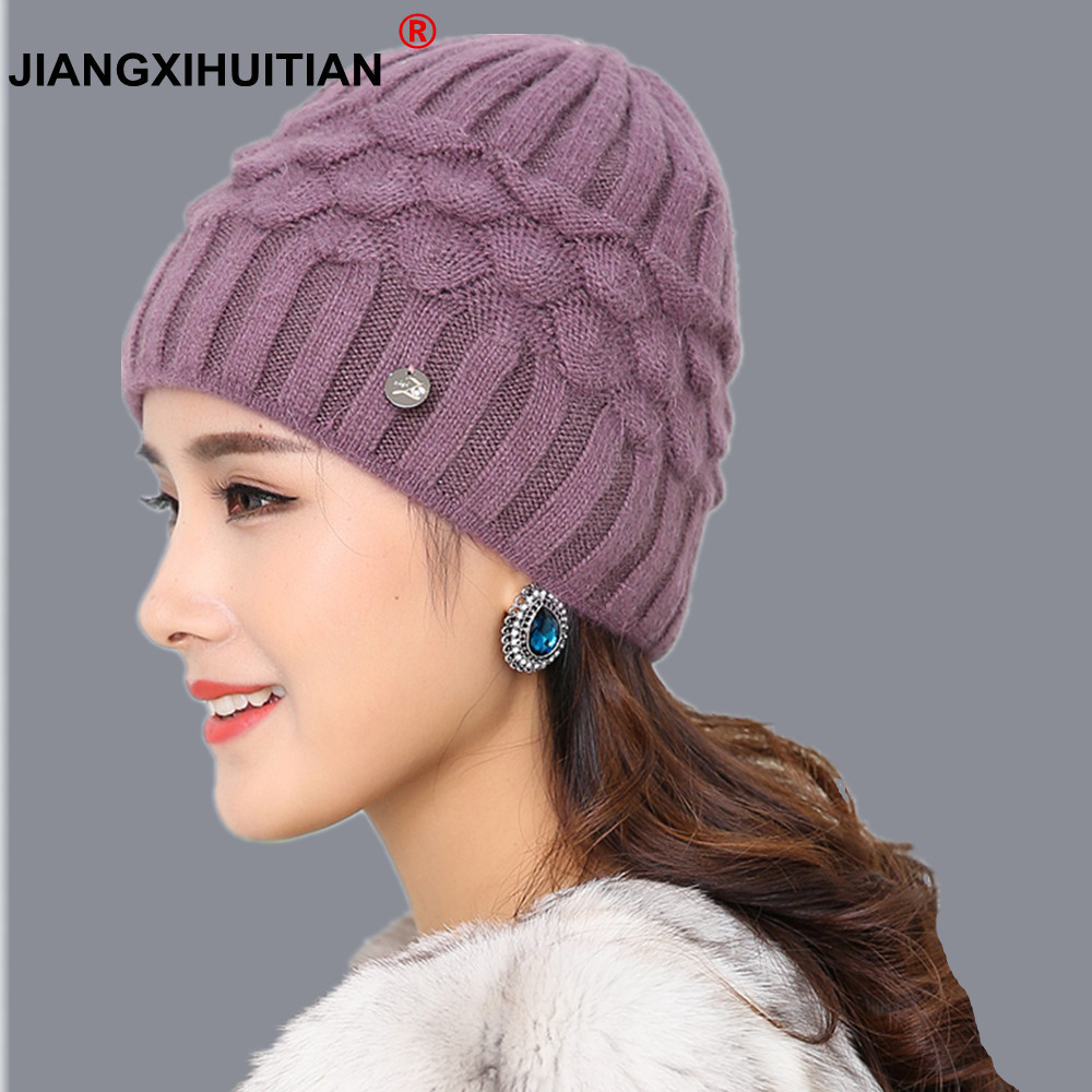 Brand soft rabbit double knitting thick bonnet   beanie   caps solid warm winter hats for women's cap   skullies     beanies   female hat