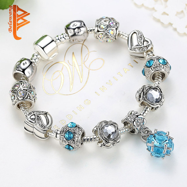 Vintage Silver Color Crystal Charms Bracelet Exquisite Heart Flower Murano Beads Bracelet for Women Birthday Present