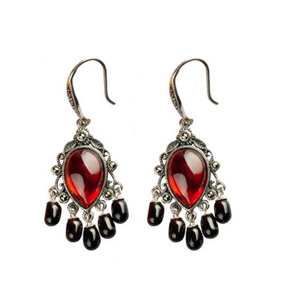 Jade ange Vintage 925 argent rouge grenat noir Onyx glands Dangle boucles d'oreilles saint valentin cadeaux d'anniversaire cadeaux livraison gratuite