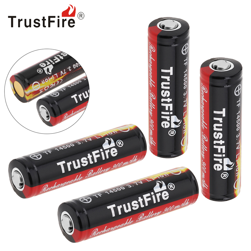 4pcs TrustFire 3 7V 900mAh 14500 Li ion Rechargeable Battery with Protected PCB for LED Flashlight