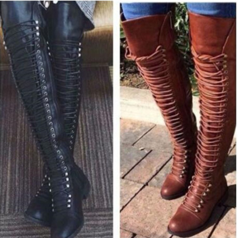 Clearance Sale Ladies Vintages Style Thigh High Boots Winter Snow Booties Large Size Fashion Dress Booty Shoes M006