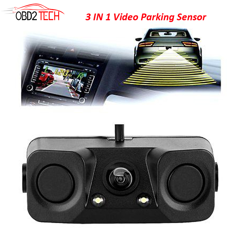 170 Degree 3 IN 1 Video Parking Sensor Car Reverse Backup Rear View Camera with 2 Radar Detector Sensors BiBi Alarm Indicator