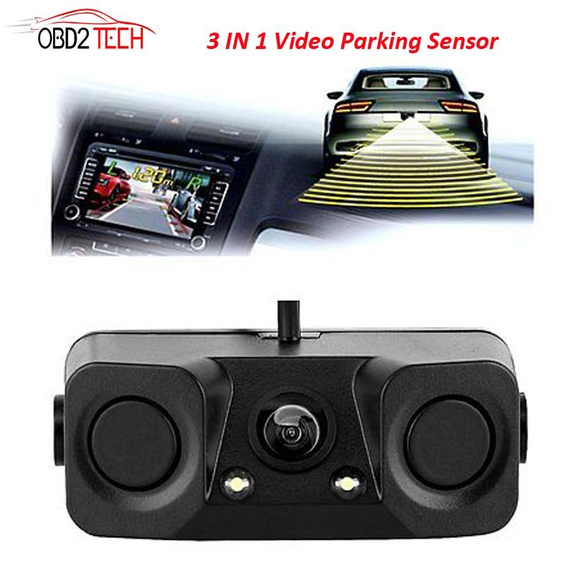170 Degree 3 IN 1 Video Parking Sensor Car Reverse Backup Rear View Camera With 2 Radar Detector Sensors BiBi Alarm Indicator