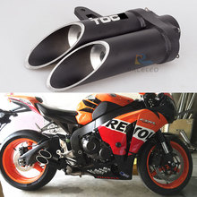 36-51mm High quality Universal Motorcycle Double Exhaust Muffler Pipe for toce exhaust  muffler zx10r R1 R6 cbr1000rr
