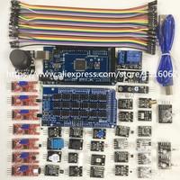 37 Em 1 Kits De Sensores Para Arduino Raspberry Pi Novato Aprendizagem Módulo Sensor Terno Ultima Mega 2560 R3 Escudo 2.0 Starter Kit nova
