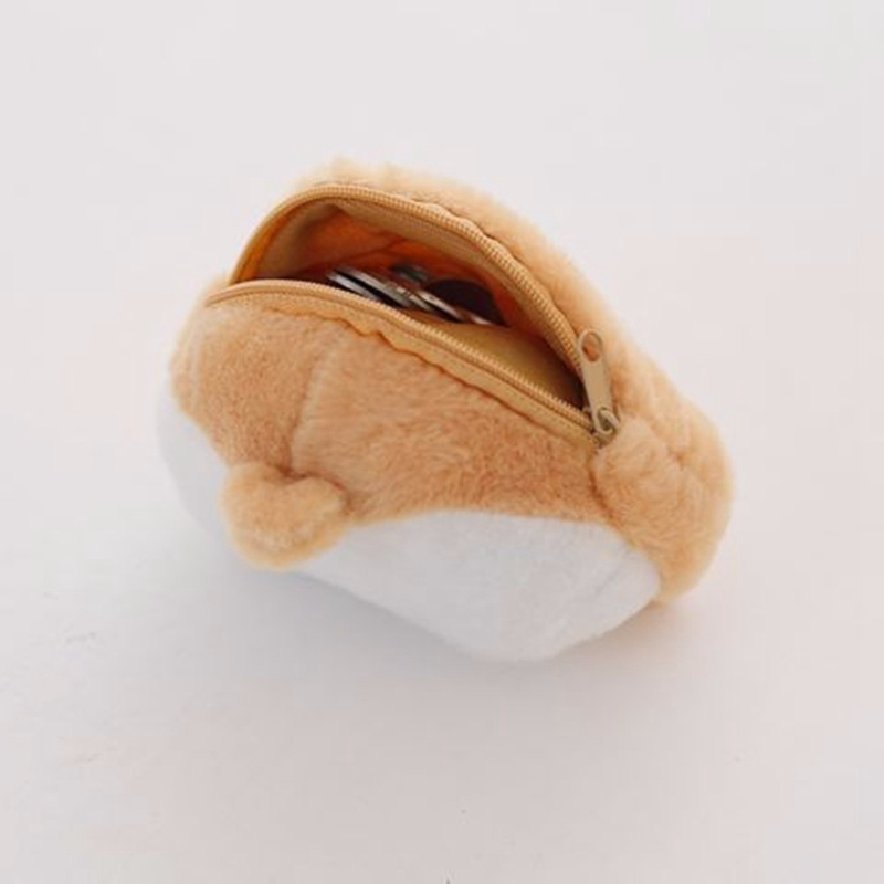 Kawaii Corgi Butt Ass Storage Cute Plush Coin Bag Zip Handbag Accessories Lovely For Child Animal Wallet Gift Qly9132