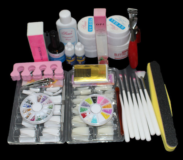 UC-131 Pro Nail Art UV Gel Kits Tools & 7 Brush Nail Tips Set Glue Rhinestone Block nail art tool nail manicure product