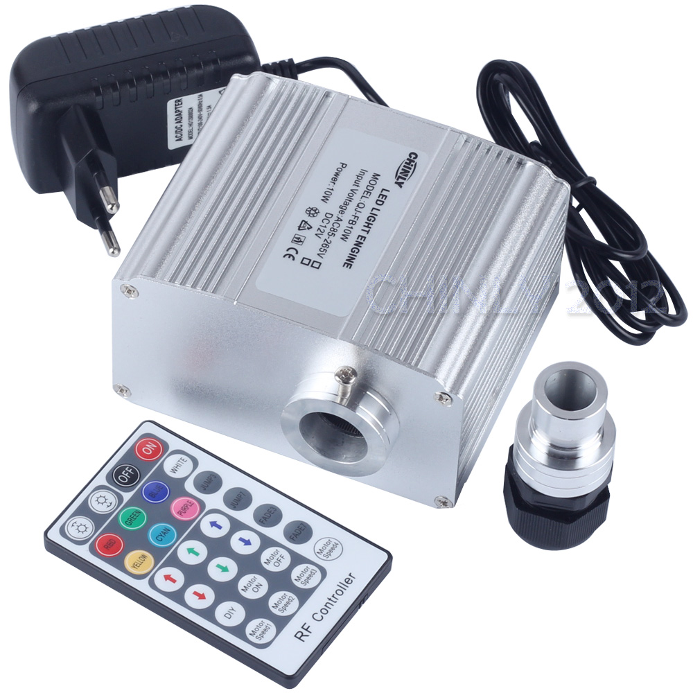 CREE-chip 10W RGBW LED blinker Fiber Optic Engine Driver med 28 nøgler RF-fjernbetjening til alle slags fiberoptik