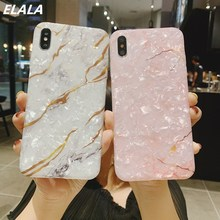 ELALA Glossy Marble Case For iPhone 7 X Glitter Funny Patterned Conch Silicon Cover 6 s 8 Plus XR XS Max