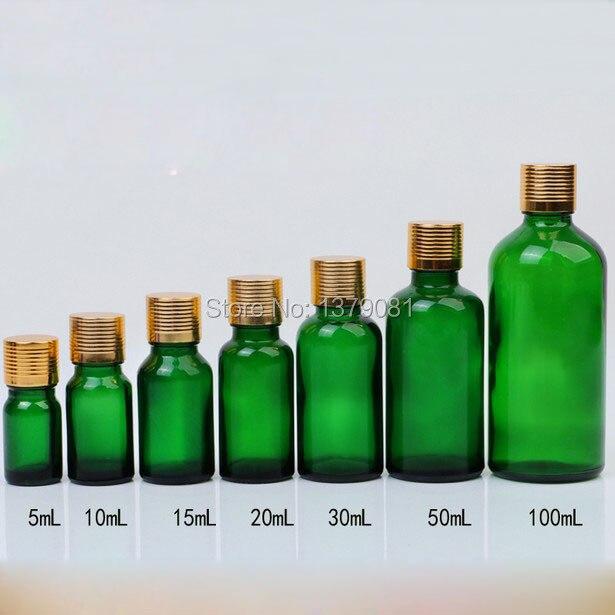 5 ml, 10 ml, 15 ml, 20 ml, 30 ml, 50 ml, 100 ml Bottiglia di Vetro verde Con Oro Tappo A Vite, Bottiglia di Olio Essenziale FAI DA TE Fiala Del Campione Spedizione gratuita