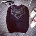Новый сезон и модный бренд вышивка тигр дизайн sweatershirt тонкий досуг стиль мужской
