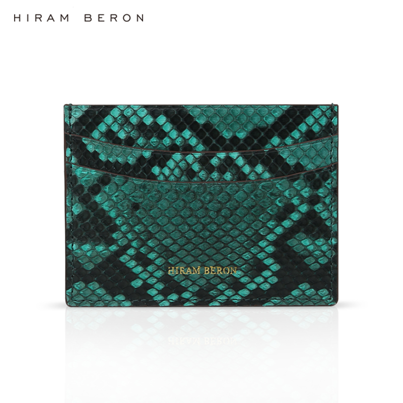 Hiram Beron CUSTOM NAME FREE mens card holder wallet python leather luxury gift real leather fashion